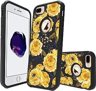 MINITURTLE 手机壳兼容苹果 iPhone 7 Plus【印花系列】【女孩的可爱混合手机壳】【印花】【2 部分硅胶和壳套】 Bumble Bee Roses