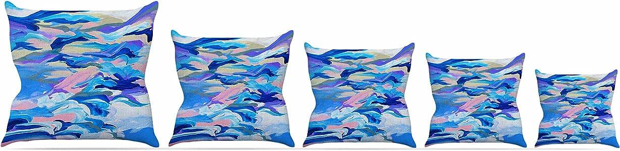 "Kess InHouse Ebi Emporium ""Still Up The Air""蓝色紫色抱枕,40.64 x 40.64 厘米 26 by 26"" JD1113APW05"