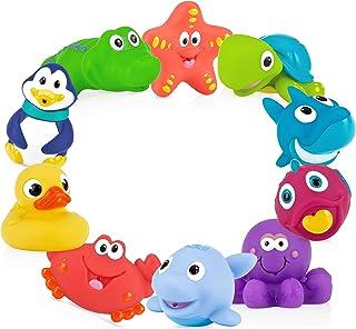 Nuby 10 只装小松鼠趣味沐浴玩具,混色 多色 适合 6 个月以上儿童