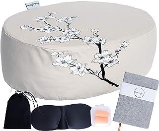 Healing Silence 冥想瑜伽垫地板枕套装 成人 (45.72x33.02x15.24 cm) * 纯棉套,填充 Buckwheat Hulls + 1 英寸*泡沫,增加舒适感 - 包含赠送配件
