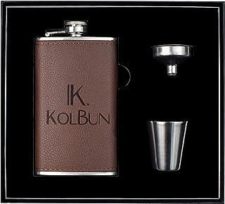 Kolbun 小号不锈钢随身酒壶 177.8 毫升 | 持久皮革扁壶,100% 防漏,激光焊接 | *完善的酒壶礼品套装 适合男士、女士
