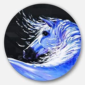 "Designart""Blue Horse 亚克力艺术动物""金属艺术,58.42 x 58.42 厘米,蓝色"