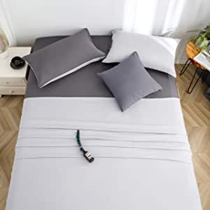 L&son 床单套装 加大双人床 4 件套 * 水洗超细纤维 超柔软透气床上用品 舒适防* 抗褪色 抗皱 Light Gray/Dark Gray Queen
