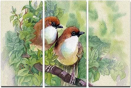 "Design Art Birds of Spring - 现代动物绘画金属墙壁艺术 36x28"" MT7494-36-28"