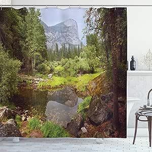 Ambesonne 家居装饰系列,涤纶面料浴室浴帘,带挂钩