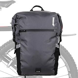 自行车行李架 24L MTB 防水后座架包多功能防撕裂骑行包旅行包单肩包带防雨罩(灰色)
