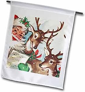 Cassie Peters Vintage - Santa and the Singing Reindeer Vintage - Flags 12 x 18 inch Garden Flag