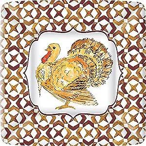 Ideal Home Range 餐巾纸 RB Turkey Paper Plates, 7-Inch Square H&PC-61213