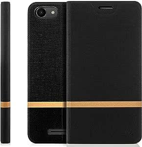 zanasta Designs 套 Wiko Jerry 保护套翻盖手机壳保护套手机套带卡位 黑色