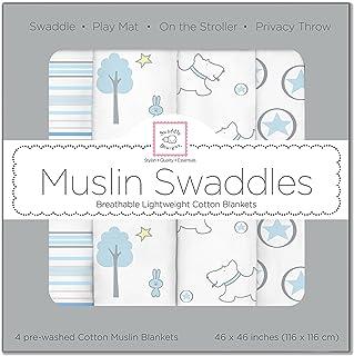 SwaddleDesigns 棉质平纹细布襁褓毯 4匹装 蓝色森林