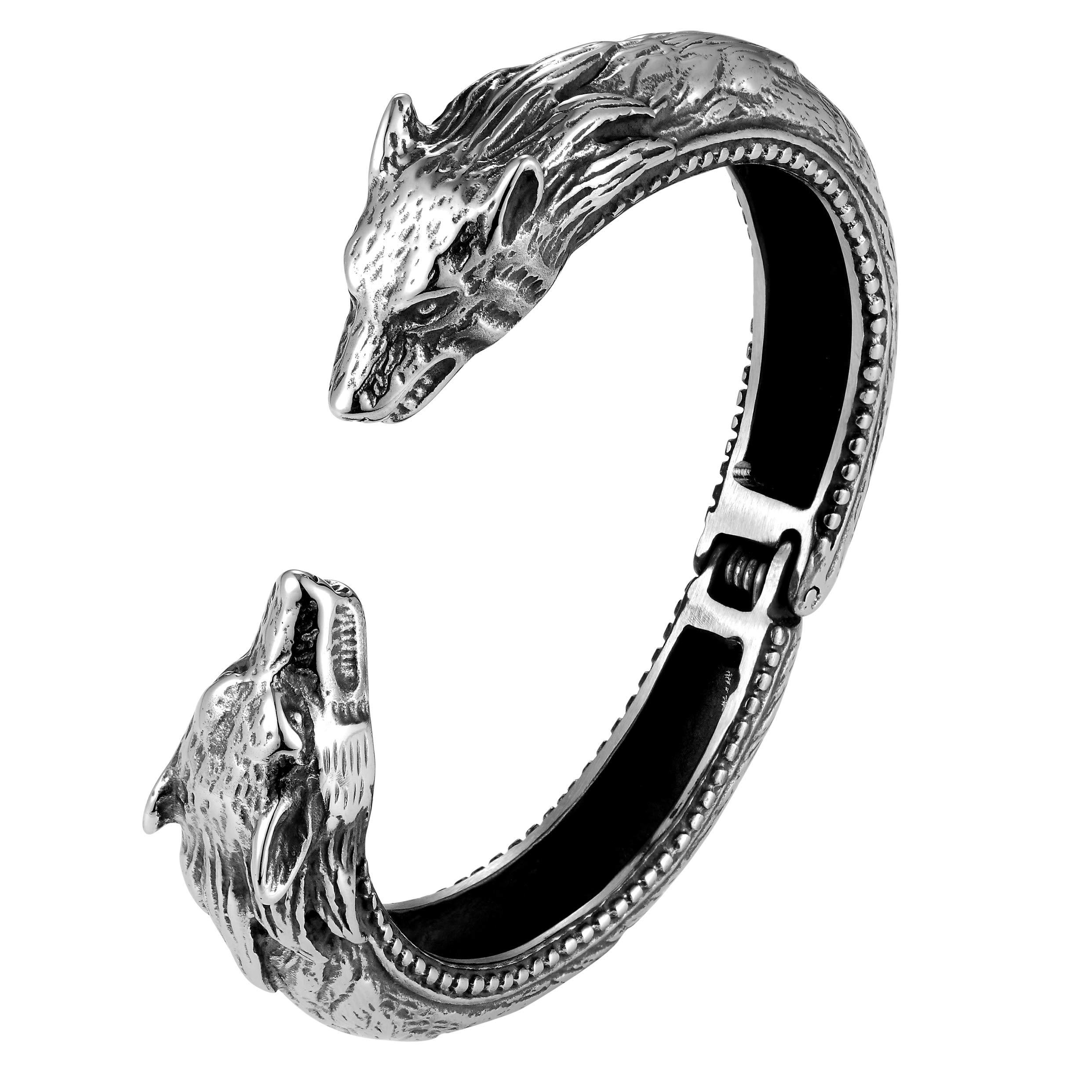 大胆なファッションのメンズブレスレット - 一緒に狼の頭飾りの飾りで研磨シルバー仕上げリング、 - ステンレス鋼のさびや変色によって - メンズジュエリーの贈り物やアクセサリー