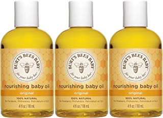Burt's Bees 天然婴儿滋养油 4盎司/118毫升(3瓶)(包装可能会有所不同)