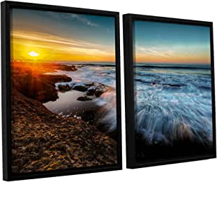 "ArtWall Scott Campbell's La Jolla New Year King Tide 3 2 Piece Floater Framed Canvas Set, 24"" x 36"""