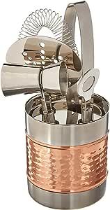 FRANCOIS ET MIMI 不锈钢鸡尾*工具包套装 ; includes 冰 TONGS ,双 jigger 带把手, strainer ,以及 Bar KEY/开瓶器与存放架