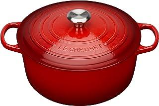 Le Creuset 标志性 搪瓷铸铁圆形砂锅 带锅盖,22厘米,3.3升,樱桃红,211772206