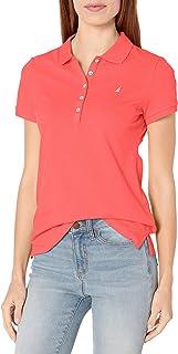 Nautica 女士 5 粒扣短袖透气纯棉 Polo 衫 Melon Pink Medium