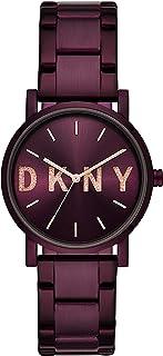 DKNY 女式石英手表黑色表盘模拟显示石英(均码,银色)