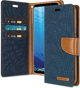 Galaxy S8 Plus 钱包式手机壳附赠赠 4 赠礼 [防震] GOOSPERY 帆布日记本。磁性[牛仔材料]卡包带支架翻盖三星 GalaxyS8Plus Navy/Brown