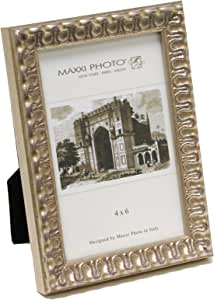 """Maxxi Designs Photo Frame with Easel Back, 8 x 10"""", Antique Silver Leaf Wood Casa Bella"""