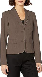 Calvin Klein 卡尔文·克莱恩 女式 双扣Lux西装,Heather 灰褐色,12