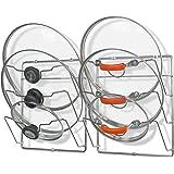 SimpleHouseware 橱柜门/壁挂式锅盖收纳架,镀铬 镀铬色 1 X Pack of 2 CO-006-1
