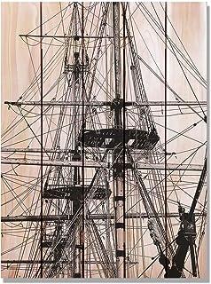 Gizaun Art Tall Ship 室内/室外墙壁艺术 28W x 36H in. 棕色 TS2836