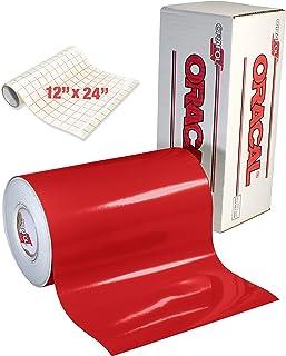 Oracal 651 带光泽的红色卷 Oracal 651 永久性粘合背衬乙烯基,适用于手工切割机、压手和乙烯基标志切割机(30.48 厘米 x 121.92 厘米 + 转印纸卷)