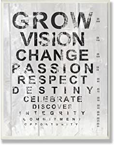 The Stupell Home Decor Collection Grow Eye Chart Inspirational Typography Wall Plaque