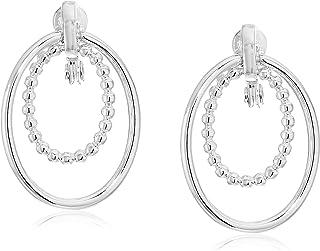 Anne Klein 银色门把手夹式耳环