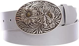 3.81 cm 按扣椭圆形向日葵雕刻带皮带扣