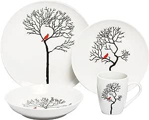 Melange Coupe 16 件瓷器餐具套装(森林中的小鸟)| 可供 4 | 微波炉、洗碗机和烤箱使用 | 餐盘、沙拉盘、汤碗和马克杯(每个)