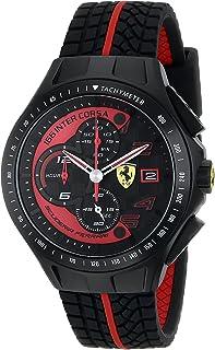 Ferrari 男式 0830077 Race Day 计时黑色橡胶表带手表