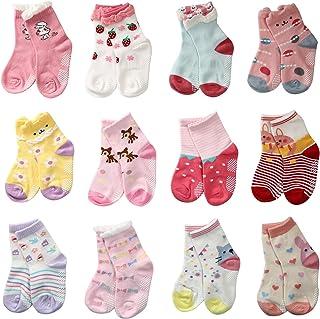 LAISOR 12 双混色防滑脚踝棉质袜带抓握,适合幼儿、女婴