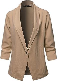 SSOULM 女式寬松工作辦公室單扣西裝外套,加大碼
