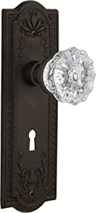 Nostalgic Warehouse Meadows Plate with Keyhole Crystal Glass Knob, Double Dummy, Oil-Rubbed Bronze