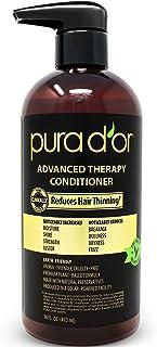 Pura D'or 高级护发素-增加水分,强度,发量和质地,无硫酸盐,由摩洛哥坚果油和生物素制成,所有毛发类型,男性和女性(包装可能有所不同),16盎司/473ml