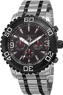 Joshua & Sons 男士多功能潜水手表 - 3 个子表盘单向旋转潜水表圈不锈钢表链上刻阿拉伯数字雕刻 - JX100