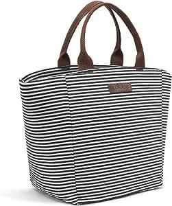 午餐袋 冷藏袋 食品保温袋 - 8206 Black White Strip LLH-BBGUS-ST-LO8222-BKW