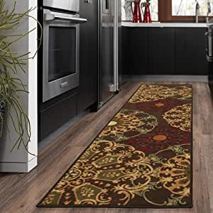 Ottohome Collection Contemporary Damask Design Machine-Washable Non-Slip Runners and Area Rugs