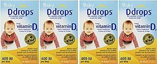 Ddrops Baby 400 Iu 滴剂,90滴,0.08盎司(约2.27克),4盒