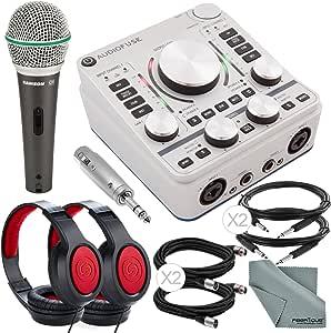 Arturia AudioFuse 14x14 音频接口(灰色)和豪华套装带Samson SR360立体声耳机 + Samson Q6动态麦克风 + 适配器 + Xpix 电缆 + 纤维布