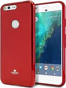 Google Pixel 手机壳,【超薄】GOOSPERY 【灵活】透明果冻橡胶 TPU 手机壳【轻便】防撞套【抗冲击】适用于 Google Pixel 2016 红色