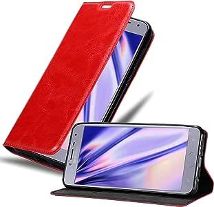Cadorabo Book Case 适用于 Samsung Galaxy J4 2018 钱包 Etui 保护套DE-119872 苹果红