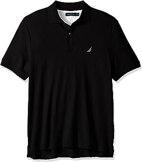 Nautica 男士经典柔软棉质纯色短袖Polo衫,正黑色,X-Large