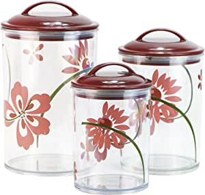 Corelle Coordinates by Reston Lloyd Acrylic Storage Canisters, Set of 3, Pretty Pink