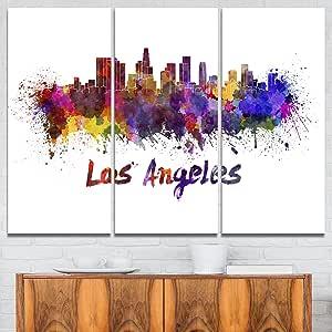 "Designart 4 面板""洛杉矶天际线城市风""帆布艺术画印刷品 Purple/Yellow/Red/Pink 36x28"" - 3 Panels PT6582-3P"