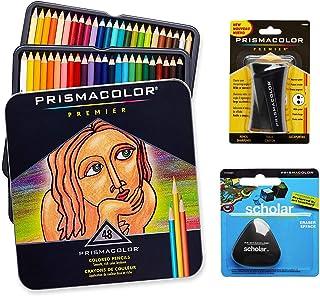 Prismacolor 优质美术套装 - 高级彩色铅笔 48 支装,高级铅笔磨刀,1 包和不含乳胶的Scholar 橡皮擦 1 包