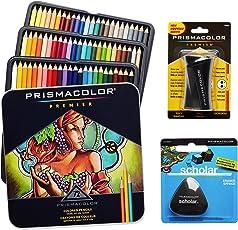 Prismacolor彩色铅笔一盒72色,三角形橡皮擦和高级铅笔刀