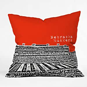 DENY Designs Bird Ave Nebraska Huskers Red Throw Pillow