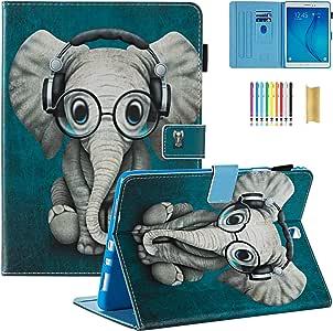SM-T550 手机壳,Galaxy Tab A 9.7 手机壳,Dteck [自动*唤醒] 钱包皮质手机壳,三星 Galaxy Tab A 9.7 英寸翻转智能支架保护壳 #02 Music Elephant